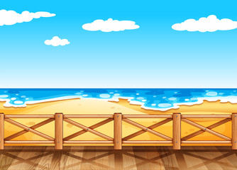 Beach scene with wooden bridge