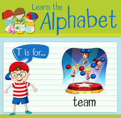 Flashcard letter T is for team