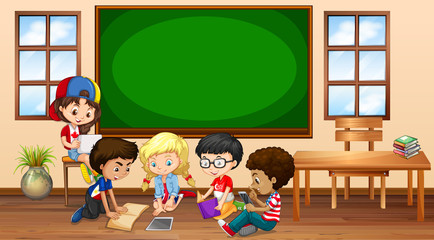 Many children learning in classroom