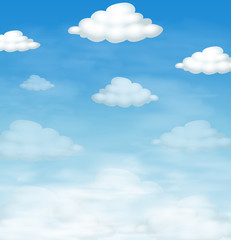 Blue sky and fluffly clouds as background