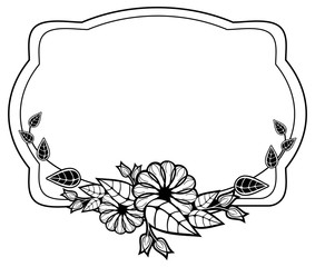 Black and white frame with floral silhouettes. Copy space. Vector clip art.