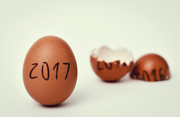eggs with numbers 2016 and 2017 for new and old year