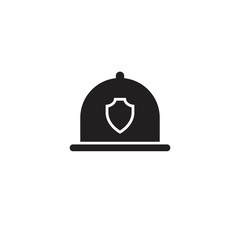 Firefighter Helmet icon black. Single silhouette fire equipment icon from the big fire Department simple.