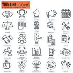 Thin line business and marketing icons