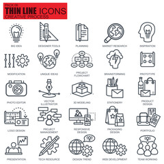 Thin line creative process icons