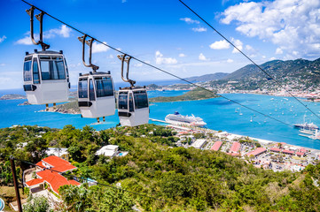 St. Thomas cruise port with cable car's in forground