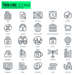 Thin line business essential icons