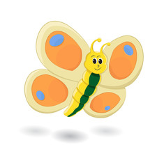 Funny cartoon insect butterfly isolated on white background illustration