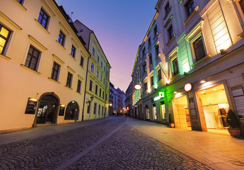 Colorful street in Brno, in the evening.