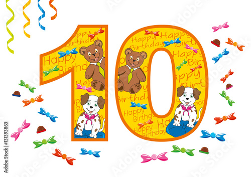 Buon Compleanno Numero 10 Stock Image And Royalty Free Vector Files