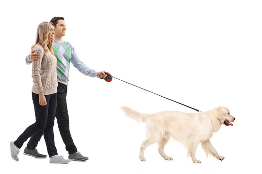 Happy young couple walking a dog