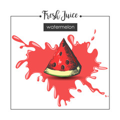 Hand - drawn watermelon and splash of fresh juice. Sketch, engraving, hatching. Vector illustration.