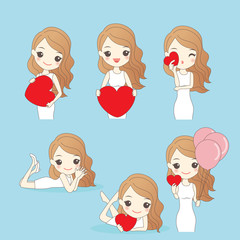 cartoon woman with valentine day