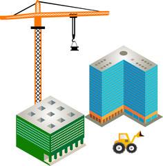 Construction of buildings white background