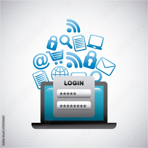 """""""laptop computer with login and social network icons ... Computer Network Login"""