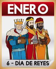 "Spanish Calendar Reminding You ""Dia de Reyes"" or Epiphany Celebration, Vector Illustration"