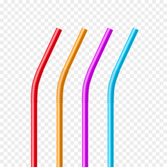 Drinking straws set. Vector colorful pipe tube plastic straw for juice, cocktail isolated