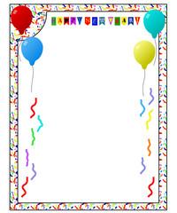 Rahmen mit Luftballons und Konfetti und Text Happy New Year