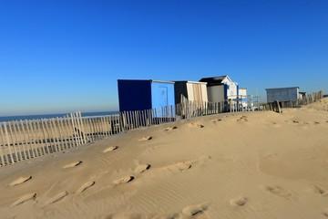 CABINS ON THE BEACH OF CALAIS IN WINTER , PAS DE CALAIS, FRANCE