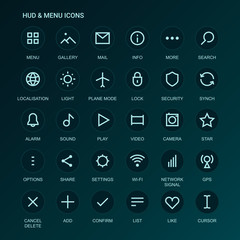 Web Interface icons. Menu icons. Vector mono line-weight icons. Interface design. Fully editable. Infinitely scalable