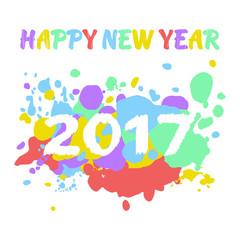 Neujahr 2017 Grußkarte mit bunten Kleksen