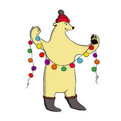 Polar bear in boots and a red hat  with pompons. In paws he holds a Christmas garland.