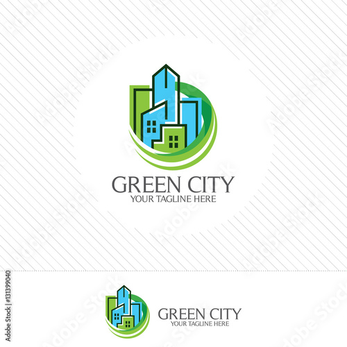 Abstract Green City Building Logo Design Concept Symbol Icon Of Residential Apartment And Landscape