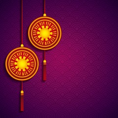 chinese decoration hanging over purple background. colorful design. vector illustration
