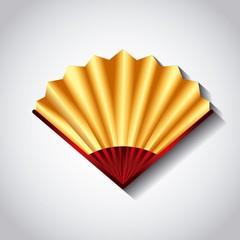 chinese fan accessory icon over white background. colorful design. vector illustraiton