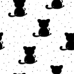 Cute seamless pattern with funny cat . vector illustration.
