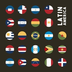 flags of latin america countries on buttons. colorful design. vector illustration