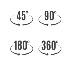 Angle degrees icons vector design. Arrows rotation circle symbol. Geometry measure