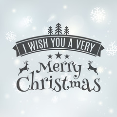 Merry Christmas text label on a winter background with snow and snowflakes. Greeting card template. Vector illustration design