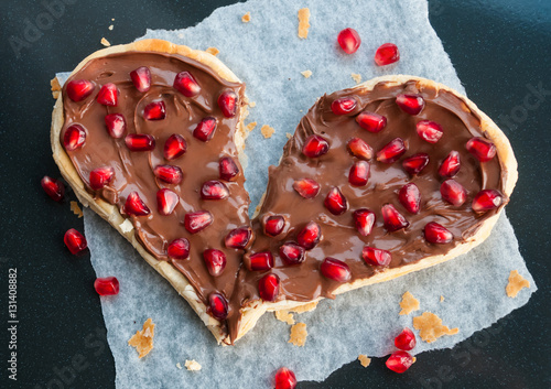 Broken Heart Concept Sweet Heart Shaped Pizza With Fruits