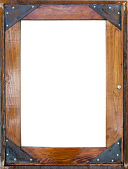 Wood and metal frame with copy space. Vertical.