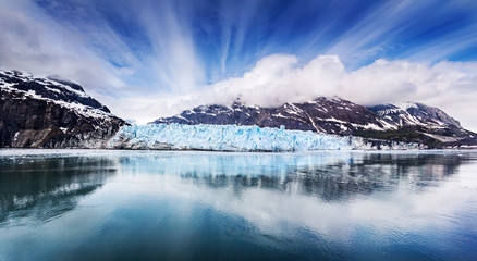 Panoramic view of the face of Margarie Glacier in Glacier Bay National Park, Alaska Wall mural