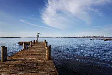 Public dock at Marine Point, Kirkland, Lake Washington, on a sunny Spring morning
