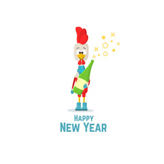 Happy New Year. Red rooster with champagne bottle. Flat Vector illustration.