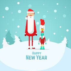 Happy New Year Rooster and Santa Claus. Flat Vector illustration