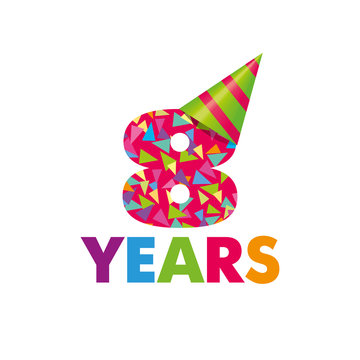 8 year. Vector template Birthday Anniversary Cap for a birthday color