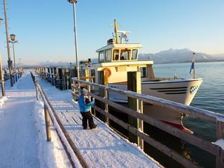 Fraueninsel im Chiemsee im Winter, Bayern, Deutschland
