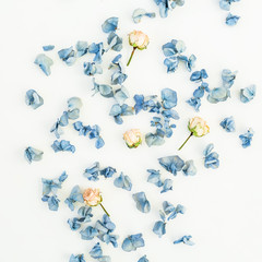 Blue flowers and roses isolated on white background, Flat lay, Top view