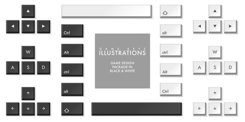WASD game design vector keys illustrations in black and white