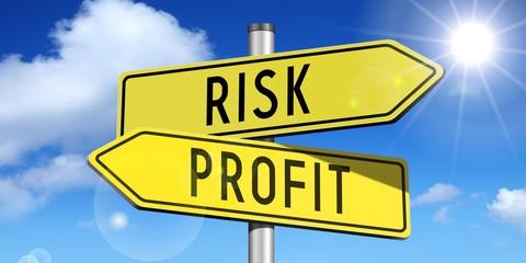 Risk, profit - yellow road-sign