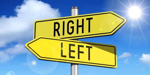 Right, left - yellow road-sign