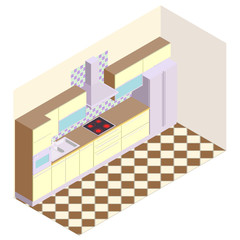 Axonometric view of the modern kitchen . Modern kitchen with large refrigerator , extractor  hood , sink , cooktop , oven and cupboards for different products and equipment.