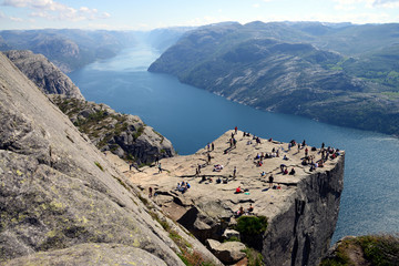 Stunning view of the Preikestolen or Prekestolen (Preacher's Pulpit or Pulpit Rock) above the Lysefjord, in Forsand municipality; Rogaland county, nature and travel background, Norway
