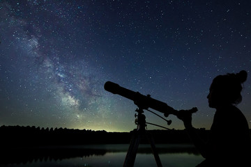 Woman with telescope watching the stars. Stargazing woman and ni Wall mural
