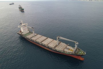 Industrial cargo ship in the ocean
