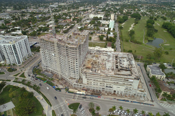 Construction site aerial photo
